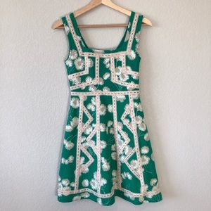 Maeve Green White Floral Dress